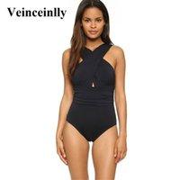 Women's Swimwear 2021 Black S - 4XL Plus Size Women Large One Piece Swimsuit Female Halter Cross Neck Bathing Suit Swim Wear V109
