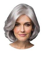 2021 Yeni Moda Trend Dalga Dalga Peruk Avrupa ve Amerikan Moda Mizaç Peruk Lady Kısa Saç Gümüş Gri Kimyasal Elyaf Kulaklık Peruk