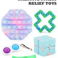 Box Packing Sensory Fidget Party Toys Push Bubbles Chain Magic Snake +Mesh Marble Ball +Infinite Key Ring Stress LD61104