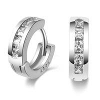 1Pair Stainless Steel Inline Crystal Earrings Hoop Studs Counple Brincos For Women Men Jewelry Stud