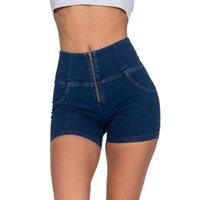 Melody cremallera azul oscuro denim pantalones cortos de mujer verano spandex stretch plus size talla alta cintura pantalones cortos sexy jeans corto feminino