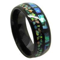 結婚指輪6 / 8mmの幅Bohoタングステンブラックトーンインレイグリーンオパールナチュラルシェルのカップルサイズ6-13