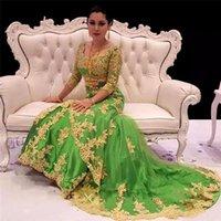 2021 Элегантная трава Зеленые Русалки Вечерние платья с Золотым Кружевым Аппликациями Таиланд Арабский Мусульманские Женщины Длинные Формальные Официальные Одежда Pageant Prom Tress
