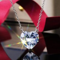 Pendant Necklaces MOONROCY Silver Color Heart Crystal Chain Necklace Wedding Chokers Jewelry Wholesale For Women Girls Drop