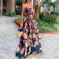 Женские двусмысленные штаны 2 наборы Топы и юбка Весна Осень Африка Одежда Длинные Maxi Outfit Высококачественная мода Печать африканских