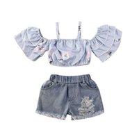 Toddler bébé enfants filles vêtements hors épaule T-shirt Tops + Denim Jupe Shorts Tenue pour bébé Vêtements de bébé Set1 54 Z2