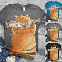 Lady Katı Gömlek Artı Boyutu Kadın Kısa Kollu 3D Hayvan Baskılı O-Boyun Tops Tee T-Shirt Kadın Rahat Moda Giyim Kadın