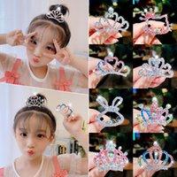 2021 Girls Cute Shining Diamond Crown Rabbit Alloy Hair Combs Kids Sweet Headband Hair Clips Tiaras Fashion Hair Accessories