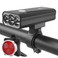 أضواء الدراجات 2021 USB قابلة للشحن ضوء الأمامي 1100 التجويف LED LANTERNA 5200 MAH دراجات مصباح ماء دراجة مجموعة