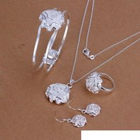 925silver necklace bracelet earring ring High grade 925 sterling silver Rose Sets jewelry set DFMSS243 Factory direct sale