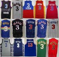 Georgetown Hoyas كلية ألين إيفرسون الفانيلة 3 الرجال كرة السلة الذبول شامبرلين 13 أزرق أسود أبيض أحمر أخضر أصفر نوعية جيدة
