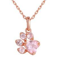 Collares de moda 2018 joyería fina cz cristal rosa oro cadena gargantilla animal pata gato colgante collar Collier de cumpleaños regalo 1723 Q2