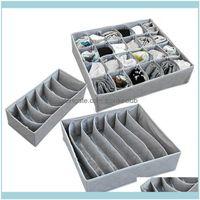 Housekeeping Organization Home & Garden3Pcs Set Foldable Der Organizers Storage Box Case For Bra Ties Underwear Socks Scarf Gray Ders Drop D