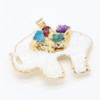 Charms Elefant-förmiger Anhänger natürlicher Halbedelstein-Stein-Shell-bedeckter Gold-Rand-Kristallknospe für Schmuck, der 40x45mm macht