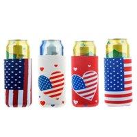 Amerikansk Independence Day Flagga Vinflaska Täck Stjärnor Och Stripes Neopren Material Ölkoks Kylväskor Heminredning G54NHHK