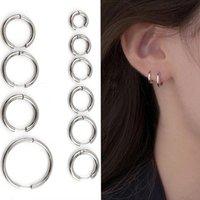 Hoop & Huggie Gothic Stainless Steel Silver Earrings For Women Men Hip Fashion Round Circle Stud Earring Ear Piercing Punk Jewelry