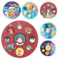 Рождественские игрушки Fidget Восемь планет Пузырь Ранний Образование Декомпрессионное пальца Прессование Пузырьки Детские Ванная Игрушка