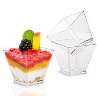 9oz Copa de plástico 270 ml Transparente Cuadrado Dispositivo Desechable Postre Tazas Festival Boda Fiesta Decoración Cake Mousse Jelly Pudding Tiramisu SN5412