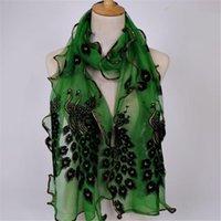 Шарфы дизайн женщины шифон павлин перо цветок вышитые кружевные стильные шарф длинные мягкие обручки платок дамы