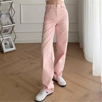 Women's Jeans Vintage High Waist Wide Leg Zipper Pockets Denim Pants Summer 2021 Candy Color Frayed Hem Female Trousers Mujer