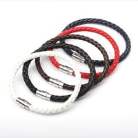 Charm Bracelets Simple Design Men's Leather Bracelet Multicolor Stainless Steel Button Bangle Women Men Wristbands Valentine's Day Jewelry G