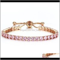Link, Chain Bracelets Jewelrytennis For Men Cubic Zirconia Charm Iced Out Bracelet & Bangle Gold Sier Color Women Bridal Wedding Jewelry1 Dr