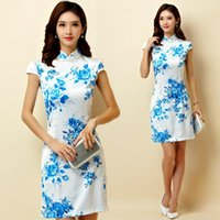 M~3XL Plus Size Chinese Traditional Women Blue Rose Flower Satin Cheongsam Qipao Short Party Female Big Midi Dress Vestidos Ethnic Clothing