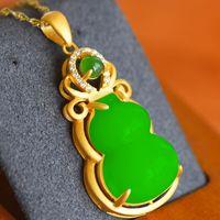 Natural verde hetian jade gourd pingente colar de prata chinês cinzelado charme jóias moda amuleto para mulheres presentes afortunados 1290 Q2