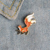 Lovely Red Fox Brooches Cartoon Animal with tail up Enamel Pins Alloy Brooch for Girls Denim Shirt Badge Jewelry Gift Friend Accessories