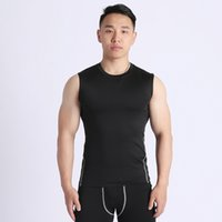 Sports Fitness Vest Waistcoat Sleeveless T-shirt Slim-Fit round Neck Undershirt Tight Quick-Drying Gym Workout Clothes Mens Soccer Jers