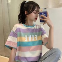 Summer Short Sleeve Rainbow Stripes T-Shirt Women Tee Shirt Korea Basic T Casual O-neck Hipster Tshirt Top Tees 2021 Women's