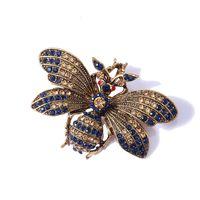 Rhinestone Bee Broche Insecto Broches para Mujeres Hombres Vintage Metal Pin Bufanda Bufanda Clip Accesorios