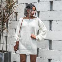 Женский фонарь втулки свитер платья моды тренд с длинным рукавом без бретелек вязание свитер юбки дизайнер женский весенний повседневный свободное платье