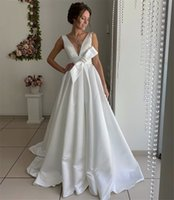Sheer V Neck Wedding Dresses Bridal Gowns with Bow Open Back Sexy Robe De Marrige Sweep Train Satin Party Formal Vestidos