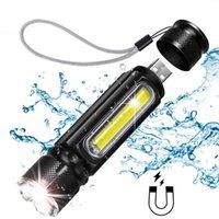 متعددة الوظائف LED USB بطارية قابلة للشحن قوية T6 الجانب البوليفيين ضوء الإضاءة المغناطيس ضوء مصباح يدافع المشاعل