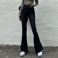 Vintage Ince Moda Flare Pantolon Kadın Katı 100% Pamuk Harajuku Kot Yüksek Beledilmiş Streetwear Uzun Pantolon Denim Kadınlar