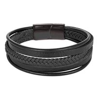 Cuff 2021 Design Multi-layers Handmade Braided Cowhide Bracelet & Bangle For Men Male Hand Jewelry Stainless Steel Fashion Bangles