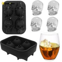US stock Cavity Skull Head 3D Mold Skeleton Skull Form Wine Cocktail Ice Silicone Cube Tray Bar Accessories Candy Mould Wine Coolers CPA3402 FJ08
