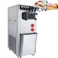 Machine à crème glacée 220V / 110V à crème glacée verticale à trois têtes de crème glacée silencieuse