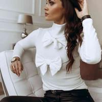 Элегантные женщины Высокая черепаха шеи с длинным рукавом вязать лук узла прикрепленный верхняя пуловер блузка высокая уличная рубашка X0521
