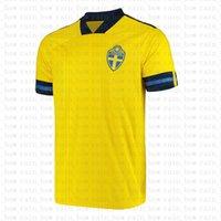 Suécia Jersey Jersey 2021 Camisa de Futebol Lindelof Maillot de Foot Milosevic Homens Larsson Uniformes Berg Forsberg Ibrahimovic Isak Ekdal Kulusevski Claesson SFE