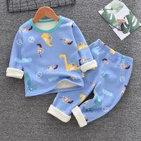 Autumn Winter Plus Velvet Children's Clothing Sets for Girls 3-8y Cotton Thicken Cartoon Pattern Baby Boy Keep Warm Pajamas Suit 1493 Y2