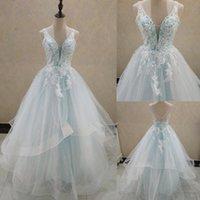 Elegant A-Line V Neck Ruffles Tiered Boho Beach Champagne Wedding Dresses Deep Lace Appliques Gowns Custom