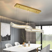 Modern Luxury K9 Crystals Led Chandeliers Lamp Dining Room Gold Chrome Steel Pendant Light Wave Suspend Fixtures