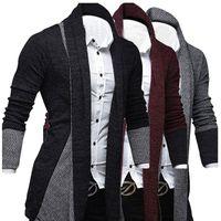 Men Cardigan Sweaters for Party Outwear 2021 Man Splicing Sweater Knitwear Men's Fasion Coats Tops