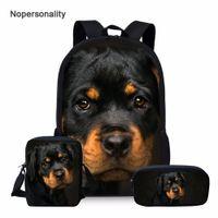 Nopersonality Sevimli Rottweiler Köpek Baskı Okul Sırt Çantası Seti Genç Erkek Kız Için Serin Çocuk Çocuklar Bagpack Öğrenci Kitap Çanta 201114