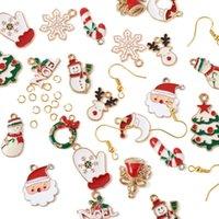 Charms Charms Smalto Pendants Bell Fiocco di neve Snowman Xmas Decorazione albero Decorazione fai da te orecchini Bracciale Collana Accessori per gioielli