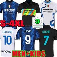 S-4XL Inter Jerseys Vidal Barella Milan Lautaro Eriksen Alexis Dzeko Correa 21 22 Siyah Futbol Futbol Gömlek 2021 2022 Üniforma Erkekler + Çocuk Seti Uzakta Üçüncü 3rd