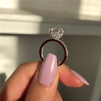 Vecalon Embassy Rouge Promise Bague 925 Sterling Argent Cusahion Coupé Diamond Engagement Bandes de mariage pour femmes bijoux