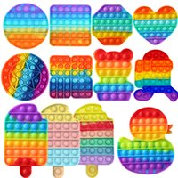 레인보우 재미있는 팝업 성인 어린이를위한 장난감 antistress 장난감을 푸시 거품 fidget sensory autism 특별한 필요성 불안 스트레스 선물